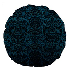 Damask2 Black Marble & Teal Leather Large 18  Premium Round Cushions by trendistuff