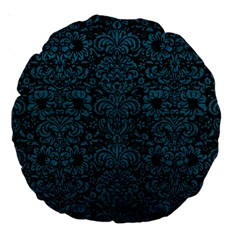 Damask2 Black Marble & Teal Leather (r) Large 18  Premium Round Cushions by trendistuff