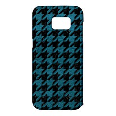 Houndstooth1 Black Marble & Teal Leather Samsung Galaxy S7 Edge Hardshell Case by trendistuff