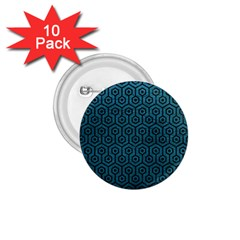 Hexagon1 Black Marble & Teal Leather 1 75  Buttons (10 Pack) by trendistuff