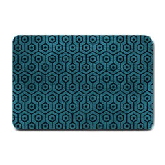 Hexagon1 Black Marble & Teal Leather Small Doormat  by trendistuff