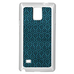 Hexagon1 Black Marble & Teal Leather Samsung Galaxy Note 4 Case (white) by trendistuff
