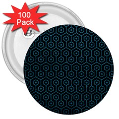 Hexagon1 Black Marble & Teal Leather (r) 3  Buttons (100 Pack)  by trendistuff