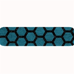 Hexagon2 Black Marble & Teal Leather Large Bar Mats by trendistuff