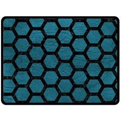 Hexagon2 Black Marble & Teal Leather Fleece Blanket (large)  by trendistuff
