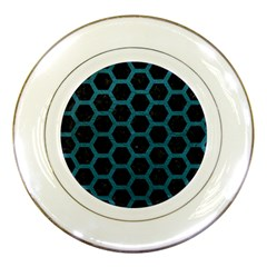 Hexagon2 Black Marble & Teal Leather (r) Porcelain Plates by trendistuff