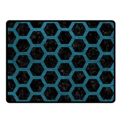 Hexagon2 Black Marble & Teal Leather (r) Double Sided Fleece Blanket (small)  by trendistuff
