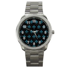 Royal1 Black Marble & Teal Leather Sport Metal Watch by trendistuff