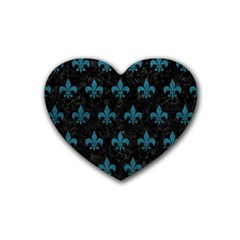 Royal1 Black Marble & Teal Leather Heart Coaster (4 Pack)  by trendistuff
