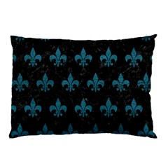 Royal1 Black Marble & Teal Leather Pillow Case (two Sides) by trendistuff