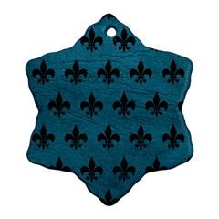 Royal1 Black Marble & Teal Leather (r) Ornament (snowflake) by trendistuff