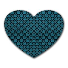 Scales2 Black Marble & Teal Leather Heart Mousepads by trendistuff