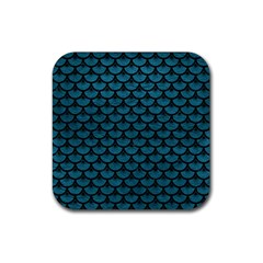 Scales3 Black Marble & Teal Leather Rubber Square Coaster (4 Pack)  by trendistuff