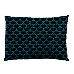 Scales3 Black Marble & Teal Leather (r) Pillow Case by trendistuff