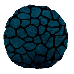 Skin1 Black Marble & Teal Leather (r) Large 18  Premium Round Cushions by trendistuff