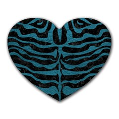Skin2 Black Marble & Teal Leather (r) Heart Mousepads by trendistuff