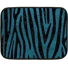 Skin4 Black Marble & Teal Leather (r) Fleece Blanket (mini) by trendistuff