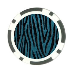 Skin4 Black Marble & Teal Leather (r) Poker Chip Card Guard (10 Pack) by trendistuff