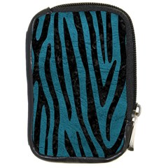 Skin4 Black Marble & Teal Leather (r) Compact Camera Cases by trendistuff