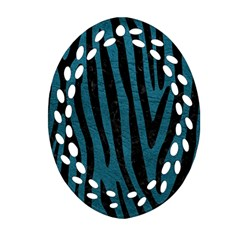 Skin4 Black Marble & Teal Leather (r) Oval Filigree Ornament (two Sides) by trendistuff