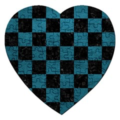 Square1 Black Marble & Teal Leather Jigsaw Puzzle (heart) by trendistuff