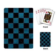 Square1 Black Marble & Teal Leather Playing Card by trendistuff