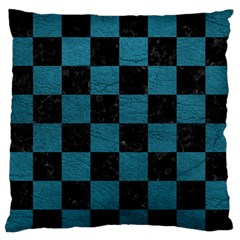 Square1 Black Marble & Teal Leather Large Flano Cushion Case (two Sides) by trendistuff