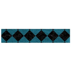 Square2 Black Marble & Teal Leather Small Flano Scarf by trendistuff