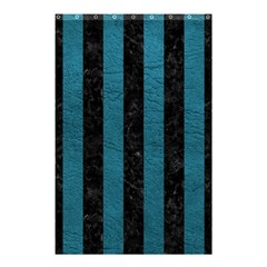 Stripes1 Black Marble & Teal Leather Shower Curtain 48  X 72  (small)  by trendistuff