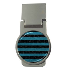 Stripes2 Black Marble & Teal Leather Money Clips (round)  by trendistuff