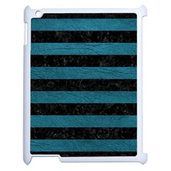 Stripes2 Black Marble & Teal Leather Apple Ipad 2 Case (white) by trendistuff