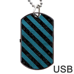 Stripes3 Black Marble & Teal Leather Dog Tag Usb Flash (two Sides) by trendistuff