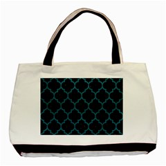 Tile1 Black Marble & Teal Leather (r) Basic Tote Bag (two Sides) by trendistuff