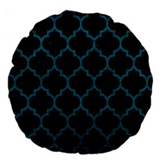 Tile1 Black Marble & Teal Leather (r) Large 18  Premium Round Cushions by trendistuff