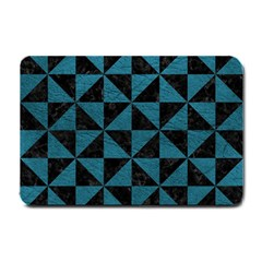 Triangle1 Black Marble & Teal Leather Small Doormat  by trendistuff