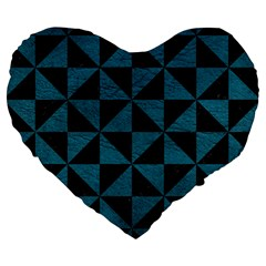 Triangle1 Black Marble & Teal Leather Large 19  Premium Heart Shape Cushions by trendistuff