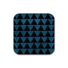 Triangle2 Black Marble & Teal Leather Rubber Square Coaster (4 Pack)  by trendistuff