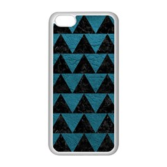 Triangle2 Black Marble & Teal Leather Apple Iphone 5c Seamless Case (white) by trendistuff