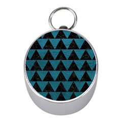 Triangle2 Black Marble & Teal Leather Mini Silver Compasses by trendistuff