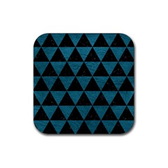 Triangle3 Black Marble & Teal Leather Rubber Square Coaster (4 Pack)  by trendistuff
