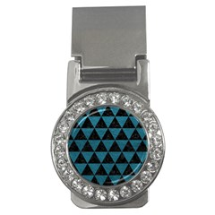 Triangle3 Black Marble & Teal Leather Money Clips (cz)  by trendistuff
