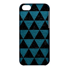 Triangle3 Black Marble & Teal Leather Apple Iphone 5c Hardshell Case by trendistuff