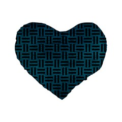 Woven1 Black Marble & Teal Leather Standard 16  Premium Flano Heart Shape Cushions by trendistuff