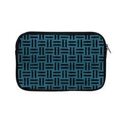 Woven1 Black Marble & Teal Leather Apple Macbook Pro 13  Zipper Case by trendistuff