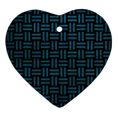Woven1 Black Marble & Teal Leather (r) Ornament (heart) by trendistuff