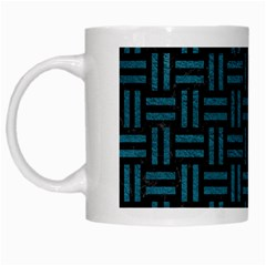 Woven1 Black Marble & Teal Leather (r) White Mugs by trendistuff
