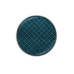 Woven2 Black Marble & Teal Leather Hat Clip Ball Marker by trendistuff