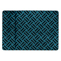 Woven2 Black Marble & Teal Leather Samsung Galaxy Tab 10 1  P7500 Flip Case by trendistuff