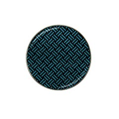 Woven2 Black Marble & Teal Leather (r) Hat Clip Ball Marker (4 Pack) by trendistuff