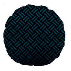 Woven2 Black Marble & Teal Leather (r) Large 18  Premium Round Cushions by trendistuff